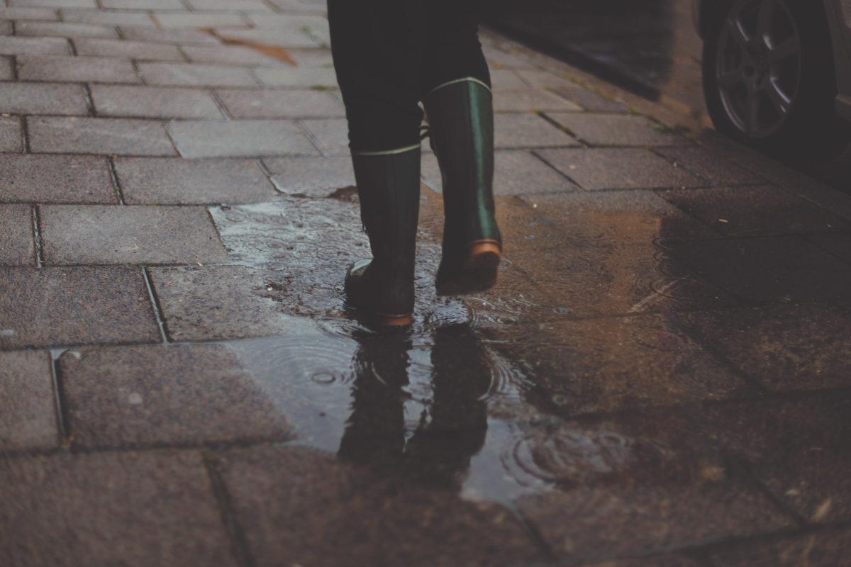 Rubber boots walking in water